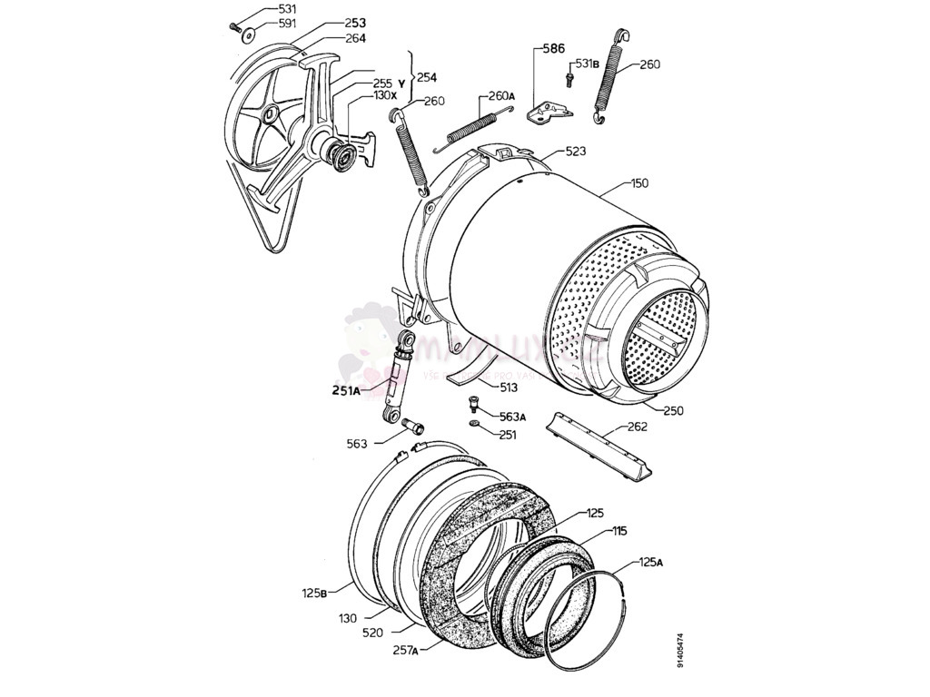Spare Parts Washing Machine Electrolux Ew 952s 19970526 Door Lock Wiring Diagram 4490 1062 05474 Pdf
