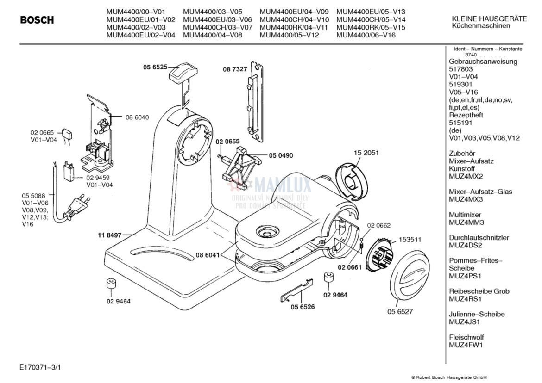 Spare Parts Mixer Bosch Mum440000 Key C 0009