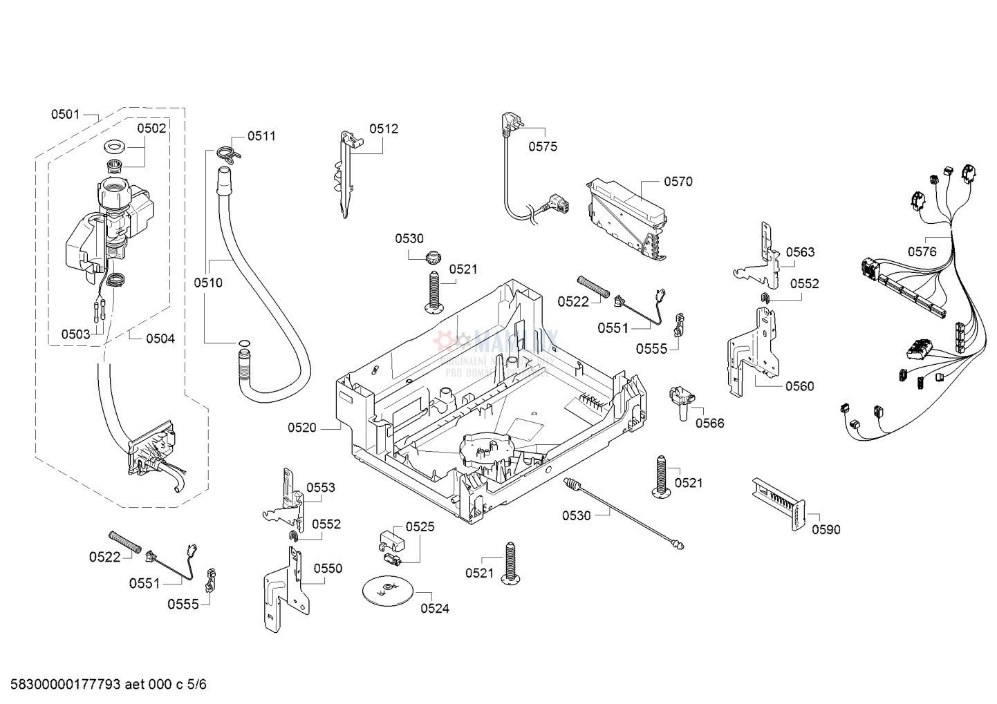 Spare Parts Dishwasher Bosch Smv53l50eu09