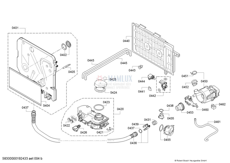 Spare Parts Dishwasher Bosch Sce52m55ru01