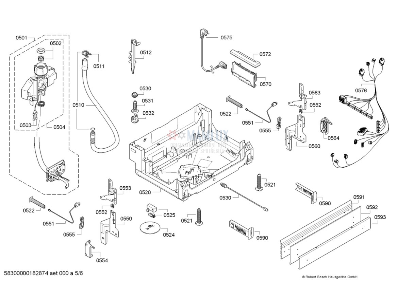 Spare Parts Dishwasher Bosch Smp53m02sk96