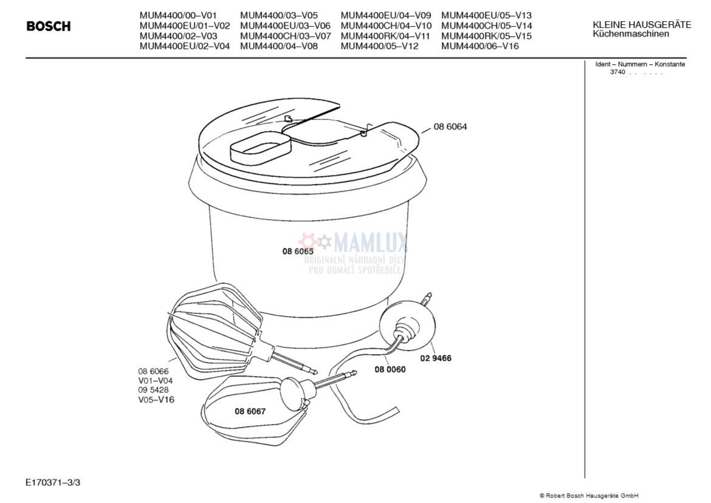 Spare Parts Mixer Bosch Mum440000