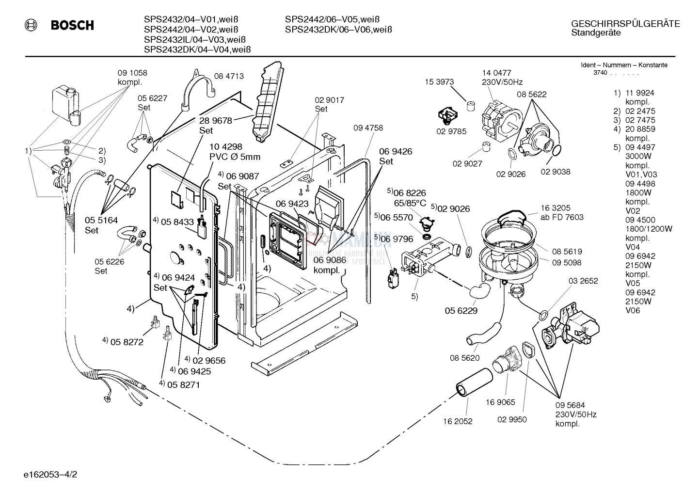 Spare Parts Dishwasher Bosch Sps244206
