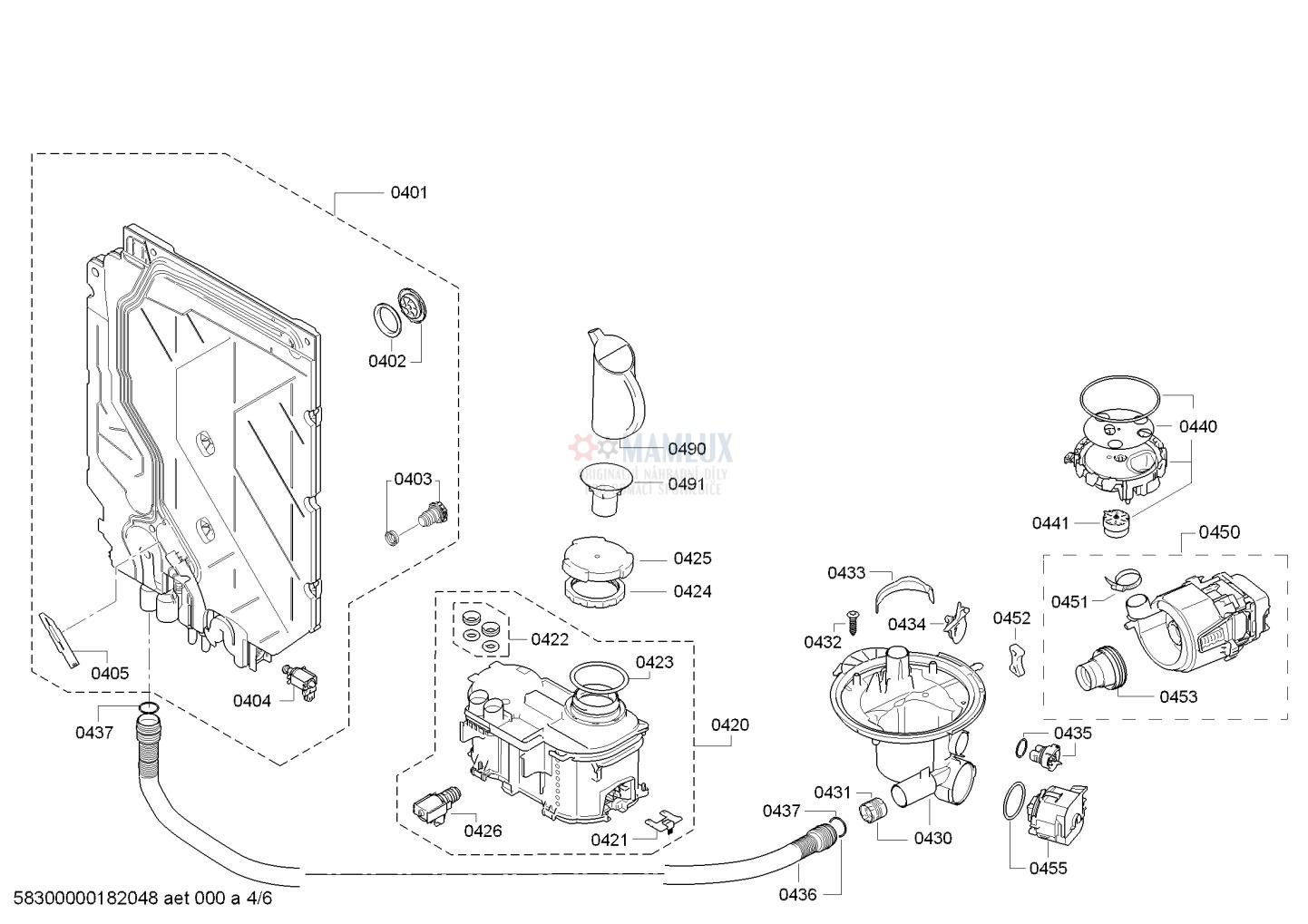 Spare Parts Dishwasher Bosch Sms53l18eu34